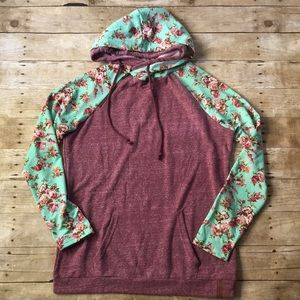 NWT Ampersand Ave Berry Floral Double Hoodie XXL
